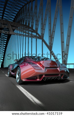 Car on bridge. My own car design. Not associated with any brand. - stock photo