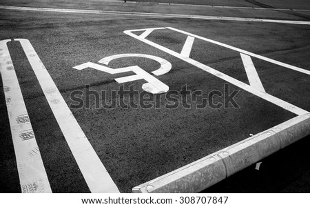 car parking lots for disable person , disabled sign - stock photo