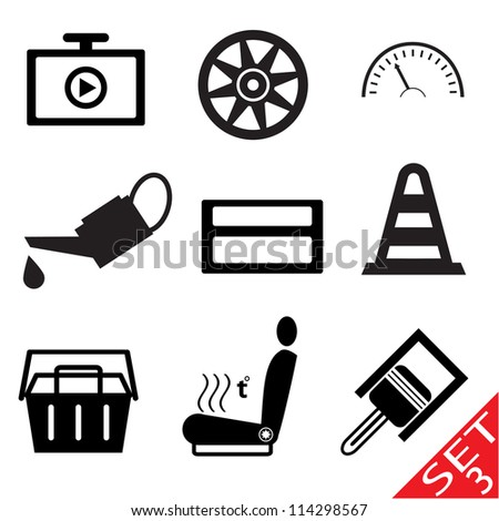 Car part icon set 3. Vector version also available in my portfolio. - stock photo