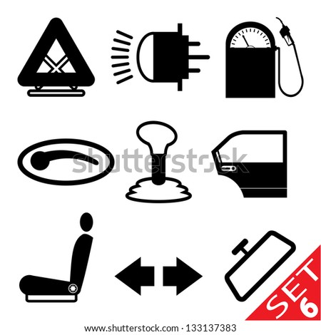 Car part icon set 6. Vector version also available in my portfolio. - stock photo