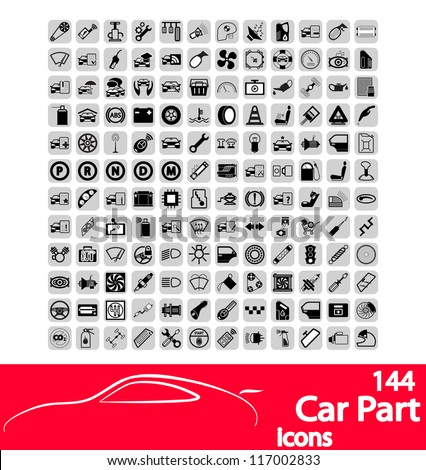Car part icons set. Vector version also available in my portfolio. - stock photo