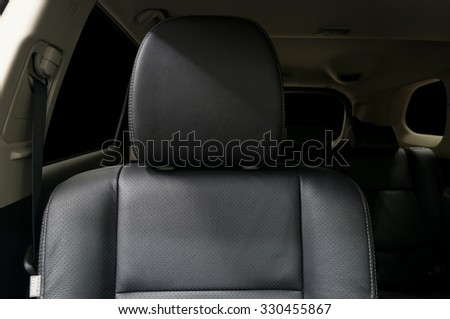 Car passenger leather seat. Interior detail. - stock photo