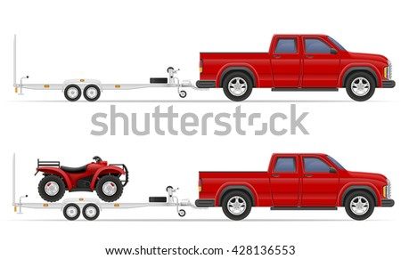 car pickup with trailer illustration isolated on white background - stock photo