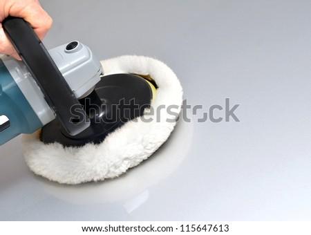 Car polishing machine close up - stock photo