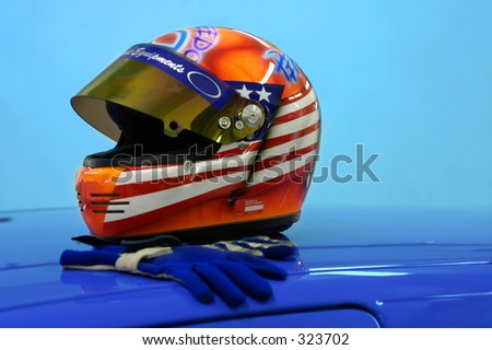 Car race helmet and gloves. - stock photo