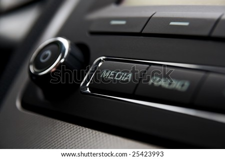 Car radio detail - stock photo