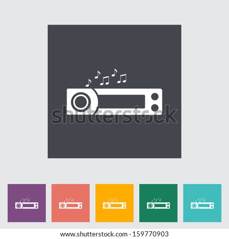 Car radio flat icon.  - stock photo