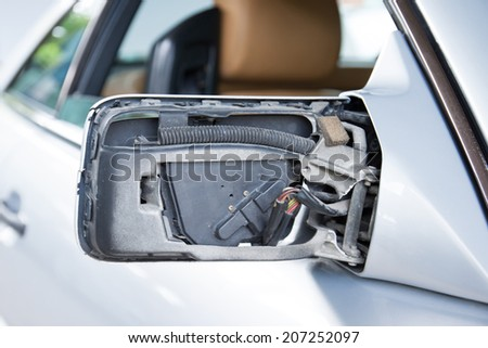 Car rear view mirror - stock photo