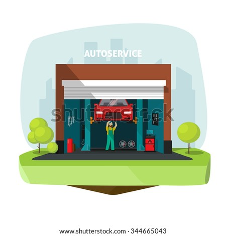 Car repair help garage, auto service center illustration with mechanic working under automobile, repairman flat modern graphic design, tools set, automotive electronics, computer diagnostics stock - stock photo