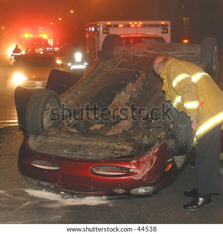 car rollover accident - stock photo
