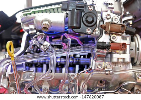 Car's engine part. - stock photo