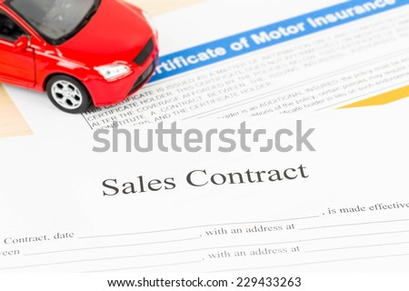 Car sales contract document - stock photo