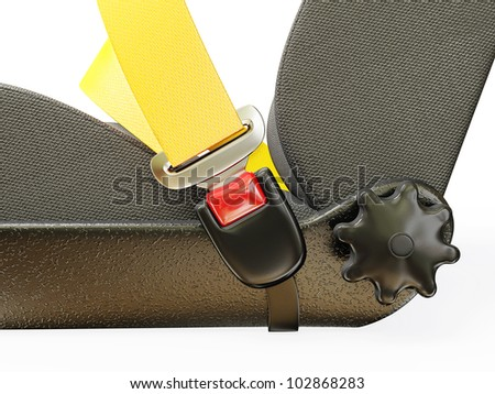 car seatbelt  isolated on a white background - stock photo