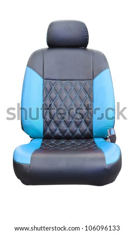 Car seats blue leather isolated on white with clipping path - stock photo