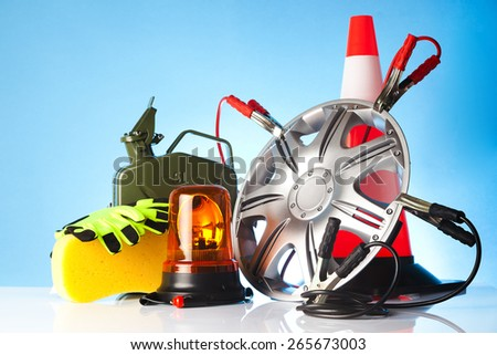 car service and cleaning accessories - stock photo