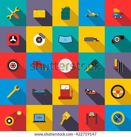 Car service icons set - stock photo