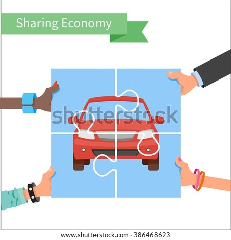 Car share concept. Sharing economy and collaborative consumption Illustration. Hands holding vehicle puzzle. - stock photo