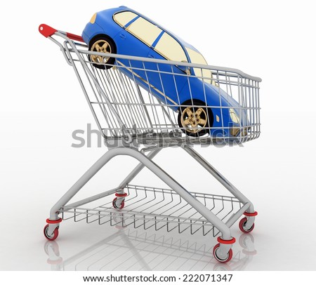 Car shopping, new car in a shopping basket. 3d render illustration on white background - stock photo
