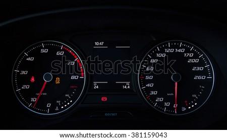 Car speedometer close-upCar speedometer close-up - stock photo