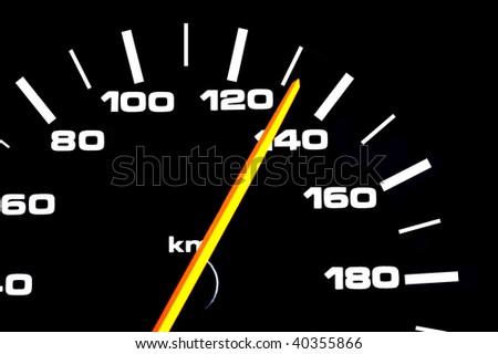 Car speedometer shows high speed - stock photo