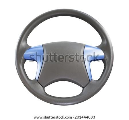car steering wheel isolated on white background. - stock photo