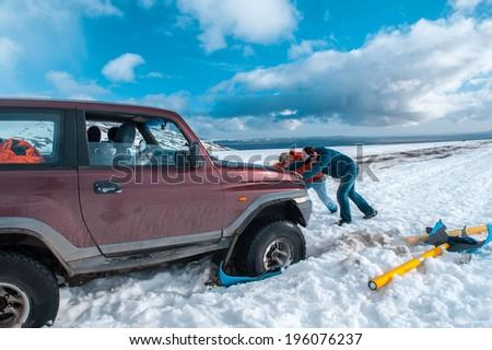 car stuck - stock photo