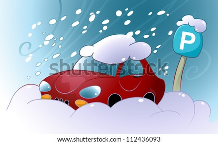 Car Stuck In The Snow - stock photo