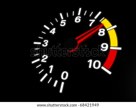Car Tachometer Almost Reaching The Red Zone - stock photo