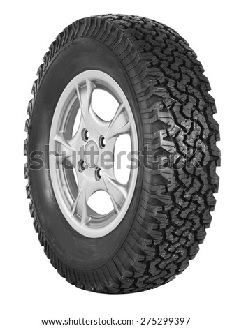 Car tire on white background - stock photo