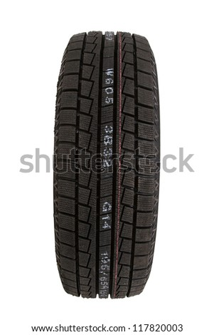 car tire on white background, cut out - stock photo
