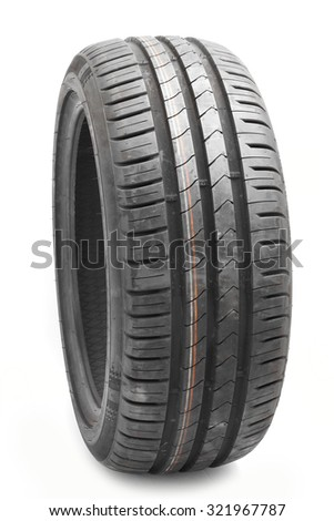 Car tires background in a row. - stock photo