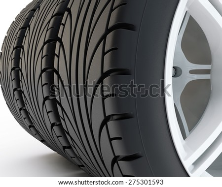 car tires close up on sports white disks - stock photo