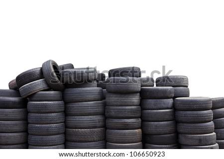 Car tires isolated on white background - stock photo