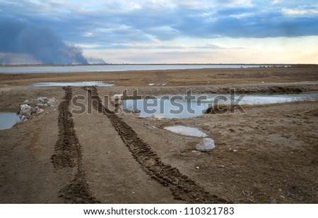 car tracks on wet sand - stock photo
