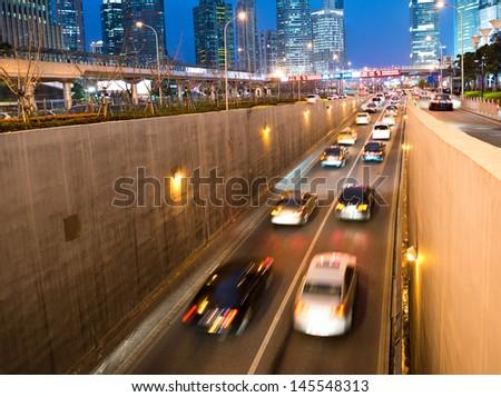 Car traffic at night. blur motion. - stock photo