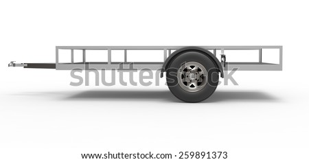 car trailer isolated on white - stock photo