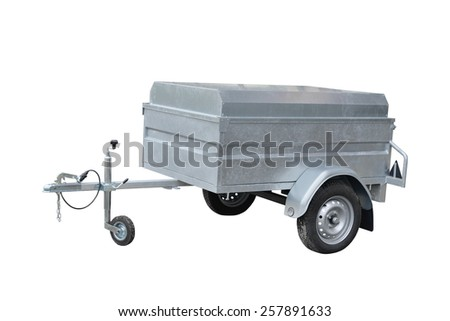 Car trailer isolated on white background - stock photo