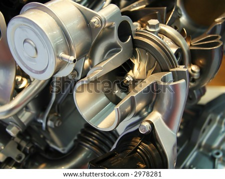 Car turbocharger intersection - stock photo