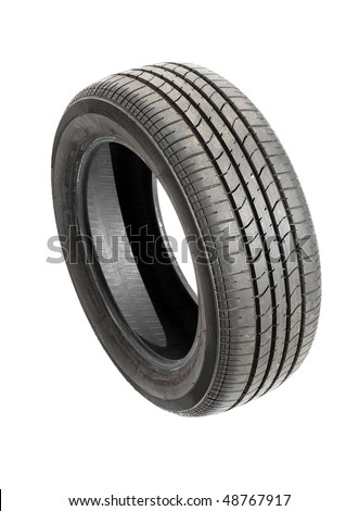 Car tyre isolated on pure white background - stock photo