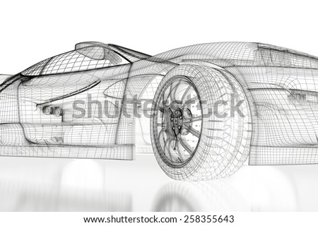 Car vehicle 3d blueprint model on a white background. 3d rendered image - stock photo