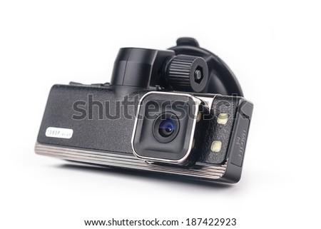 Car video recorder isolated on white background - stock photo