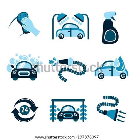 Car wash auto cleaner 24h service isolated icons  illustration - stock photo