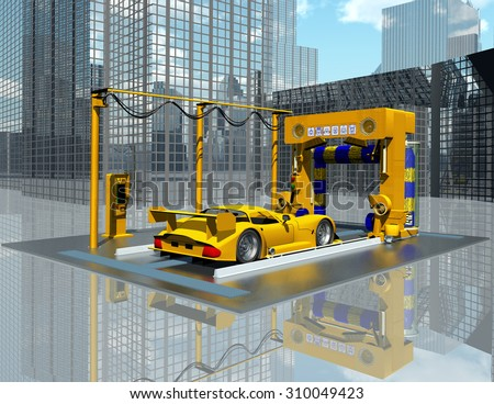 Car wash Computer generated 3D illustration - stock photo