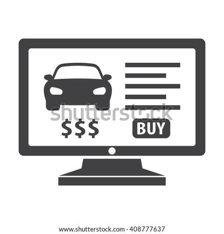 car website black simple icons set for web design - stock photo