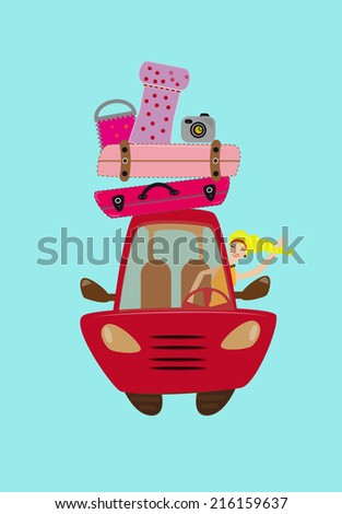 Car weigh down to baggage ready for the travel with girl in inside - stock photo