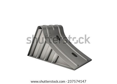 Car wheel chock - stock photo