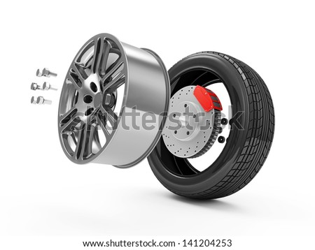 Car Wheel Concept. Demounted Car Wheel isolated on white background - stock photo