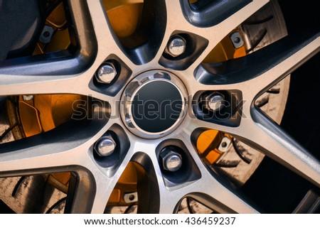 Car wheel - Sport car - stock photo