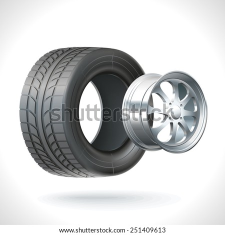 Car wheel unassembled - tires and wheels on the same axle - stock photo
