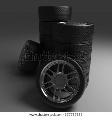 Car Wheels. Concept design. 3D render Illustration on Black Background. - stock photo